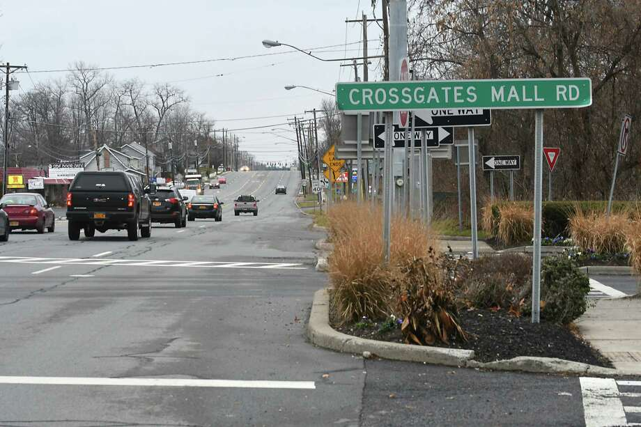 View looking west on Western Ave. at Crossgates Mall entrance on Thursday, Dec. 1, 2016 in Guilderland, N.Y. The Westmere Corridor Study (Western Avenue in Guilderland from the Northway to Rt. 155), has a bunch of recommendations to make Western Avenue more walkable and bikable. (Lori Van Buren / Times Union) Photo: Lori Van Buren / 20039012A