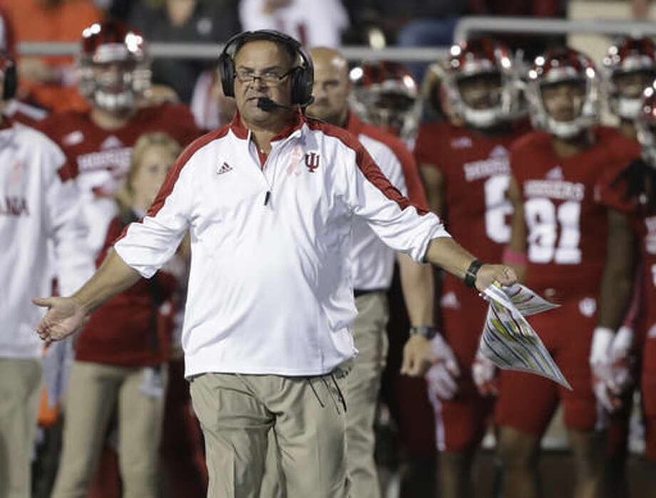 FILE - In this Oct. 1, 2016, file photo, Indiana coach Kevin Wilson calls a timeout during the team's NCAA college football game against Michigan State in Bloomington, Ind. Indiana faces No. 10 Nebraska this week. (AP Photo/Darron Cummings, File)