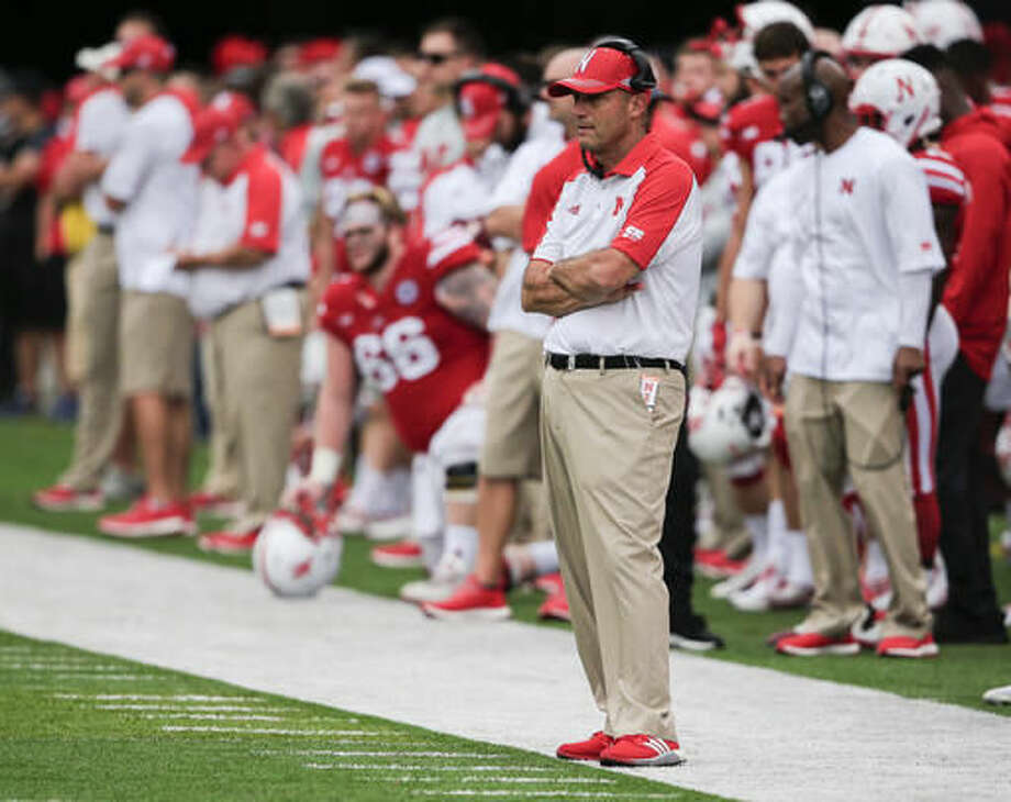 FILE - In this Oct. 1, 2016, file photo, Nebraska coach Mike Riley follows the first half of an NCAA college football game against Illinois in Lincoln, Neb. Coach Mike Riley always believed he could turn Nebraska into a Top 10 team. Five games into his second season might be sooner than most anticipated. The No. 10 Cornhuskers face Indiana this week in a Big Ten game. (AP Photo/Nati Harnik, File)