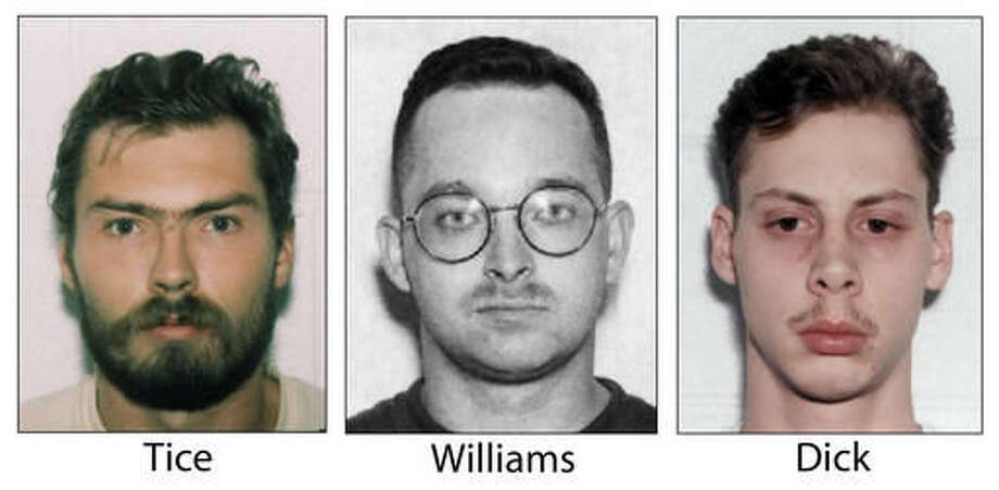 FILE - This undated, combination file photo shows Derek Tice, from left, Danial Williams and Joseph Dick, who are serving life sentences in Virginia prisons. A federal judge on Monday, Oct. 31, 2016, threw out the rape and murder convictions of two former sailors who have long maintained that police intimidated them into falsely confessing to the crimes nearly two decades ago. (The Virginian-Pilot via AP, File)