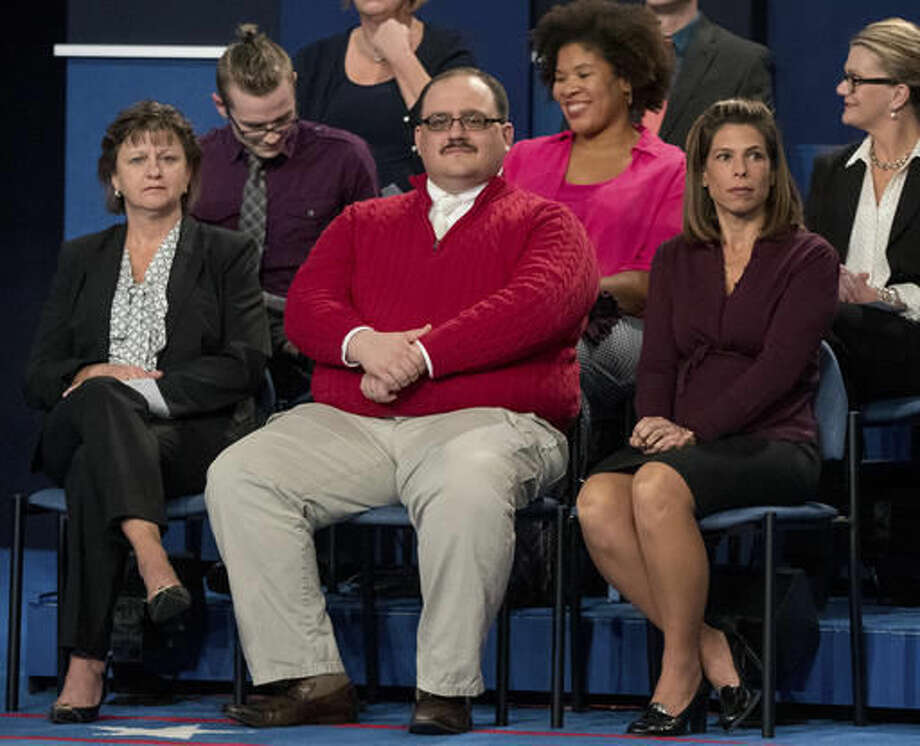 "FILE - Oct. 9, 2016, file photo, Kenneth Bone sits in the audience before the start of the second presidential debate at Washington University in St. Louis. Bone answered questions on Reddit late Thursday, Oct. 13 and early Friday, Oct. 14, 2016. Bone included his Reddit username in a Twitter post announcing the session. Those who looked up the name found Bone has shared his thoughts on everything from images of a pregnant woman in a bikini to the increased ""sexual satisfaction"" he found after undergoing a vasectomy. (AP Photo/Andrew Harnik, File)"