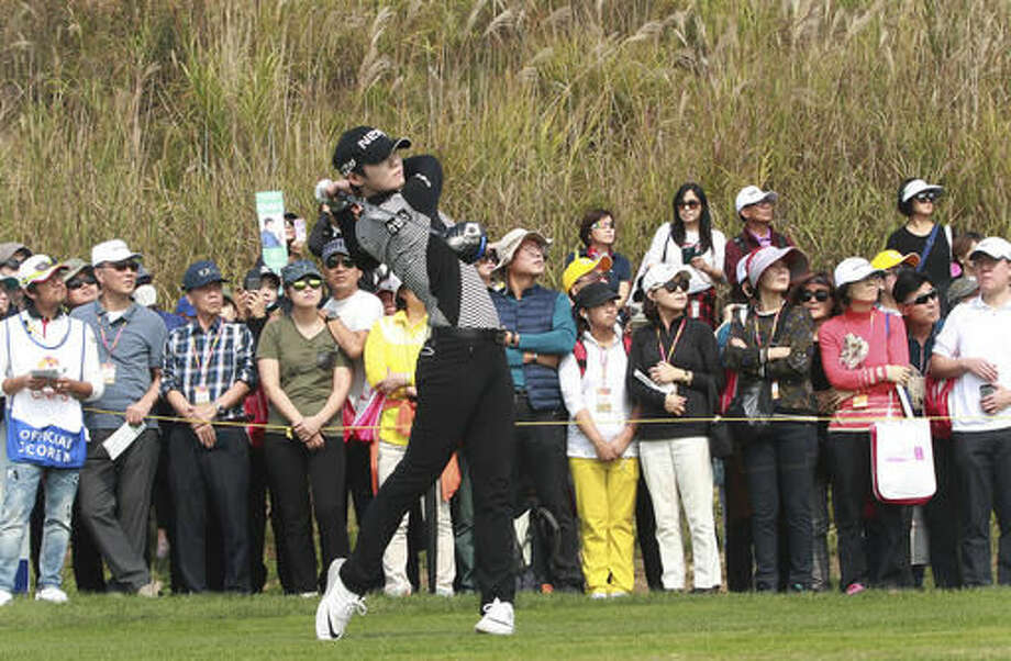 Park Sung Hyun of South Korea watches her shot on the 7th hole during the second round of the LPGA KEB HanaBank Championship 2016 tournament at Sky72 Golf Club in Incheon, South Korea, Friday, Oct. 14, 2016. (AP Photo/Ahn Young-joon)