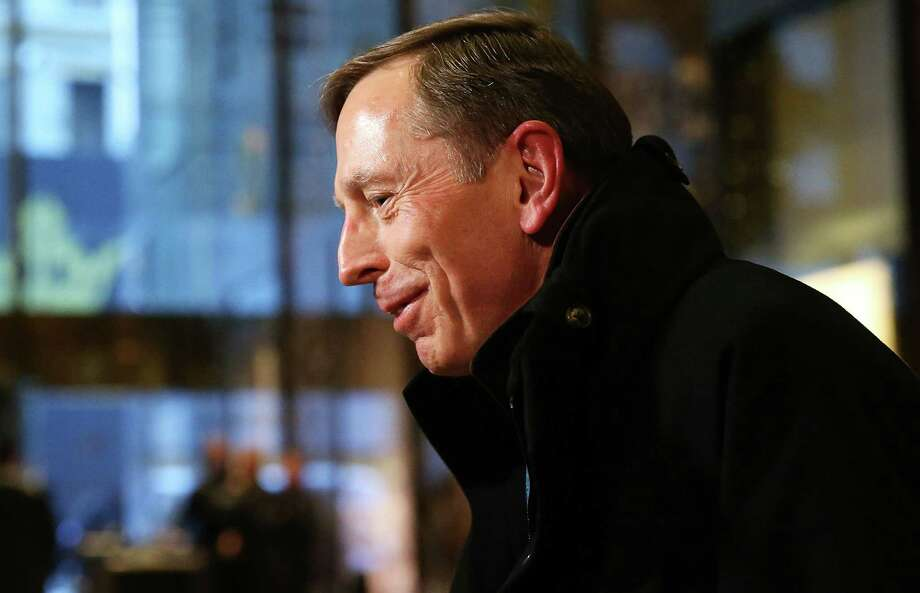 Retired Gen. David Petraeus leaves  Trump Tower earlier this week after meeting  the president-elect. He is a candidate for secretary of state. Photo: Spencer Platt, Staff / 2016 Getty Images