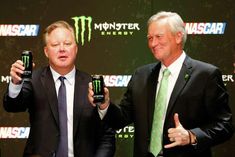 LAS VEGAS, NV - DECEMBER 01:  Brian France, NASCAR Chairman and CEO, and Mark Hall, Chief Marketing Officer of Monster Beverage Co., toast during a press conference as NASCAR and Monster Energy announce premier series entitlement partnership at Wynn Las Vegas on December 1, 2016 in Las Vegas, Nevada. Monster Energy, which will begin its tenure as naming rights partner on Jan. 1, 2017, will become only the third company to serve as the entitlement sponsor in NASCAR premier series history, following RJ Reynolds and Sprint/Nextel.  (Photo by Jonathan Ferrey/Getty Images) ORG XMIT: 685546513 Photo: Jonathan Ferrey / 2016 Getty Images