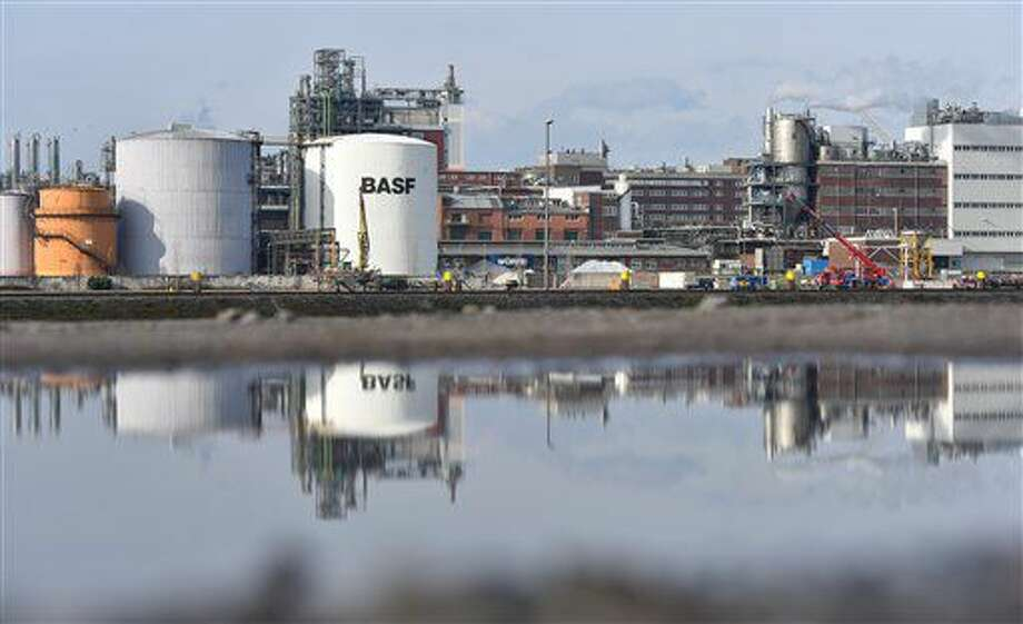 FILE - The Feb. 18, 2016 file picture shows parts of BASF chemical plant at Ludwigshafen, Germany. Chemical company BASF says several people have been injured in an explosion at a facility in southwestern Germany. Company spokeswoman Ursula von Stetten said the explosion occurred late Monday morning Oct. 17, 2016 at a river harbor in Ludwigshafen, where BASF is based, that is used to unload flammable liquids and liquid gas. ( Uwe Anspach/dpa via AP,file)