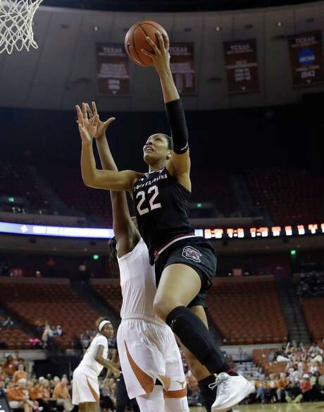 South Carolina forward A'ja Wilson (22) goes up for two of her career-best 31 points Thursday in the No. 3 Gamecocks' 76-67 win over No. 14 Texas on Thursday in Austin.  Photo: Eric Gay, STF / Copyright 2016 The Associated Press. All rights reserved.