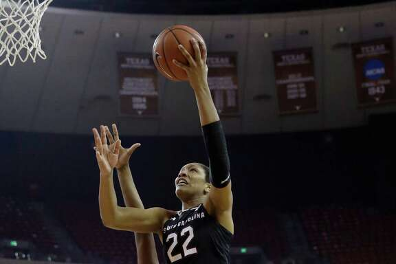 South Carolina forward A'ja Wilson (22) goes up for two of her career-best 31 points Thursday in the No. 3 Gamecocks' 76-67 win over No. 14 Texas on Thursday in Austin.