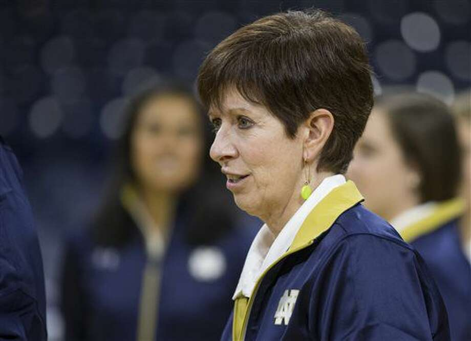 Notre Dame head coach Muffet McGraw stands around during Notre Dame's NCAA basketball media day, Monday, Oct. 17, 2016, inside the Purcell Pavilion at Notre Dame in South Bend, Ind. (Robert Franklin/South Bend Tribune via AP)