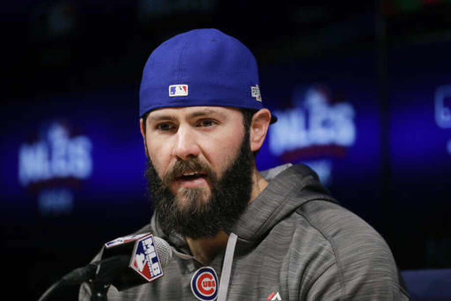 Chicago Cubs starting pitcher Jake Arrieta talks to reporters during a news conference ahead of Tuesday's Game 3 of the National League baseball championship series against the Los Angeles Dodgers, Monday, Oct. 17, 2016, in Los Angeles. (AP Photo/Jae C. Hong)