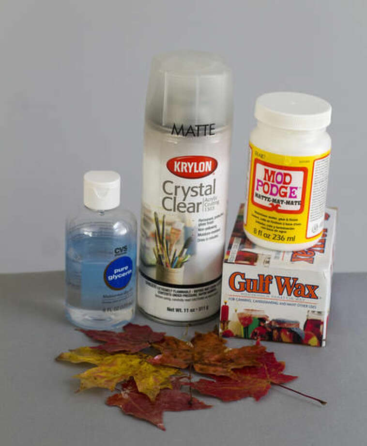 This Oct. 15, 2016 photo shows some of the supplies frequently used for preserving autumn leaves. Preserving leaves isn't difficult, but it can be messy, depending on which technique you use. (AP Photo/Holly Ramer)