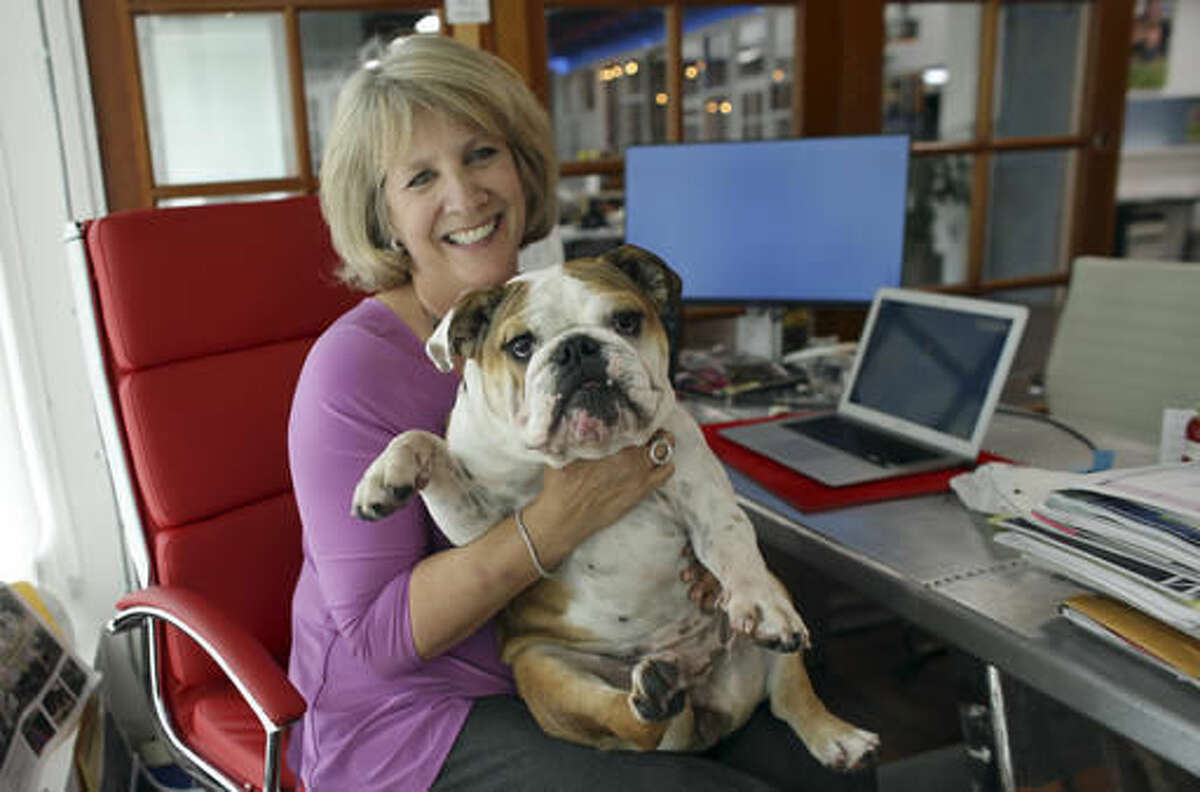 In this Tuesday, Oct. 18, 2016, photo, Barbara Goldberg, CEO of O'Connell & Goldberg Public Relations, poses for a photograph with her bulldog Rosie, at her office in Hollywood, Fla. Goldberg is a small business owner who believes pets improve the quality of their work life, boosting morale and easing tension for staffers. (AP Photo/Lynne Sladky)