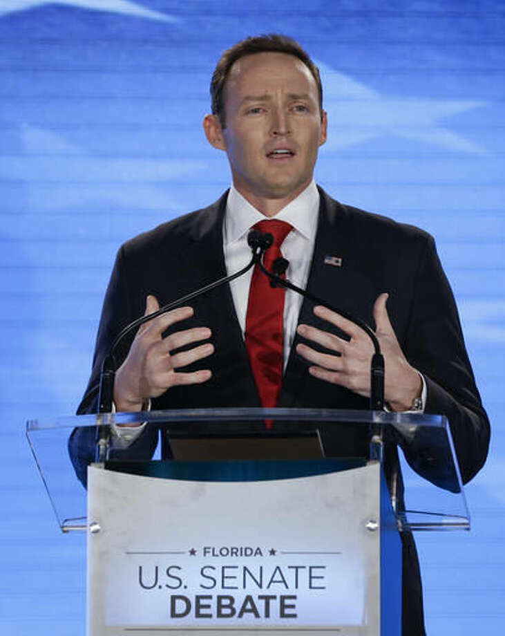 Rep. Patrick Murphy, D-Fla., comments during a debate with Sen. Marco Rubio, R-Fla., at the University of Central Florida, Monday, Oct. 17, 2016, in Orlando, Fla. (AP Photo/John Raoux)
