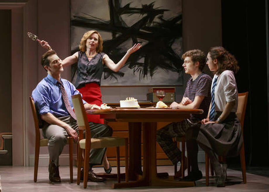 "This image released by Polk & Co. shows, Richard Armitage, left, Amy Ryan, Ben Rosenfield and Zoe Kazan in a scene from ""Love, Love, Love"", currently performing off-Broadway at Roundabout at Laura Pels Theatre in New York. (Joan Marcus/Polk & Co. via AP)"