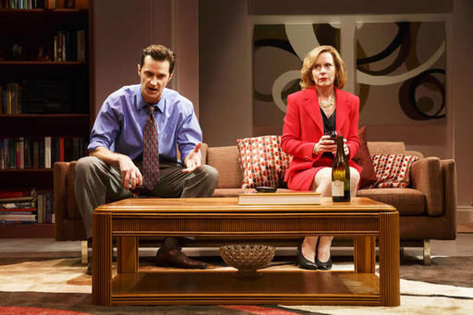 "This image released by Polk & Co. shows, Richard Armitage, left, and Amy Ryan, in a scene from ""Love, Love, Love"", currently performing off-Broadway at Roundabout at Laura Pels Theatre in New York. (Joan Marcus/Polk & Co. via AP)"