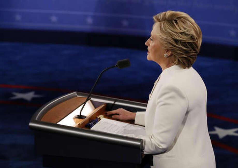 Democratic presidential nominee Hillary Clinton debates Republican presidential nominee Donald Trump during the third presidential debate at UNLV in Las Vegas, Wednesday, Oct. 19, 2016. (Mark Ralston/Pool via AP)