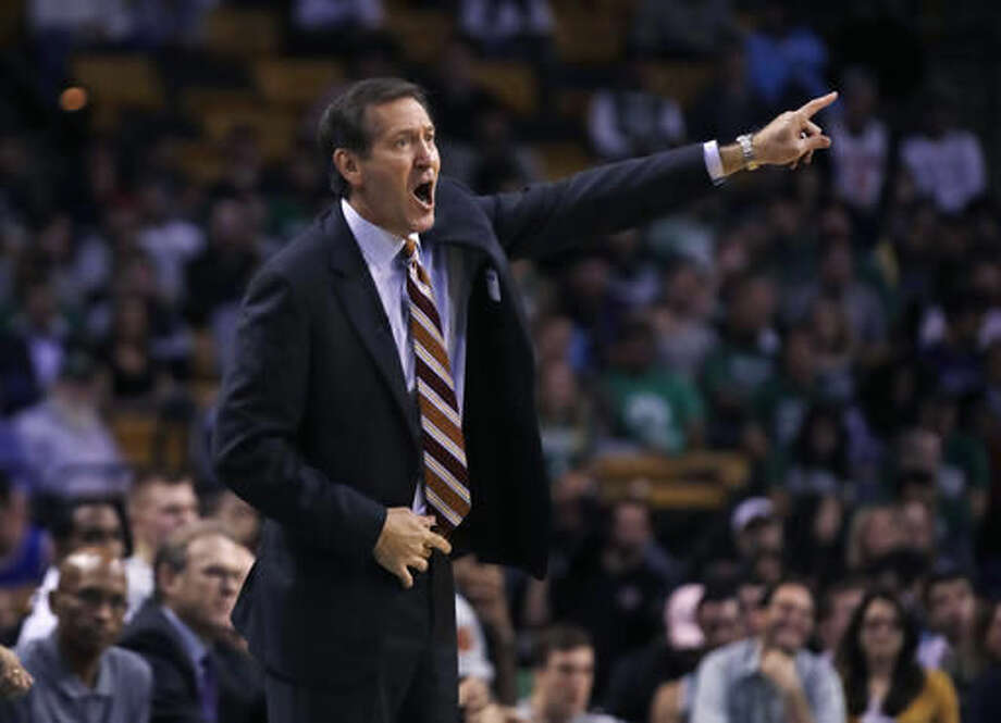 New York Knicks coach Jeff Hornacek calls to his players during the first quarter of a preseason NBA basketball game against the Boston Celtics in Boston, Wednesday, Oct. 19, 2016. (AP Photo/Charles Krupa)