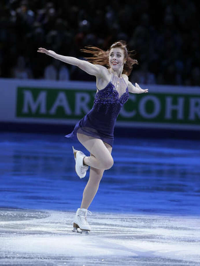 FILE - In this April 3, 2016, file photo, Ashley Wagner, of the United States, skates during the exhibition program at the World Figure Skating Championships, in Boston. Wagner brought home the first U.S. women's medal in a decade at the world championships earlier this year when she grabbed silver. Skate America begins Friday in Hoffman Estates, Ill. (AP Photo/Steven Senne, File)