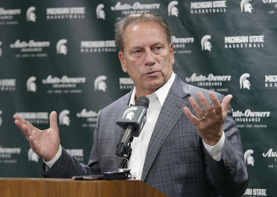 Michigan State coach Tom Izzo talks about the upcoming season during the team's NCAA college basketball media day, Thursday, Oct. 20, 2016, in East Lansing, Mich. (AP Photo/Al Goldis)