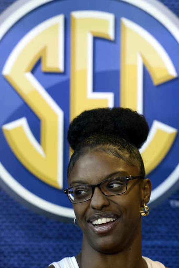 Tennessee guard Diamond Deshields answers a question during the Southeastern Conference women's NCAA college basketball media day, Thursday, Oct. 20, 2016, in Nashville, Tenn. (AP Photo/Mark Zaleski)