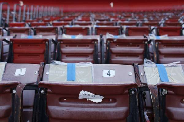 "Cards for a ""card stunt"" are taped to seats above an old name tag before a 49ers game against the Atlanta Falcons at Candlestick Park on December 23, 2013 in San Francisco, Calif. It was the last regular-season game at Candlestick Park."