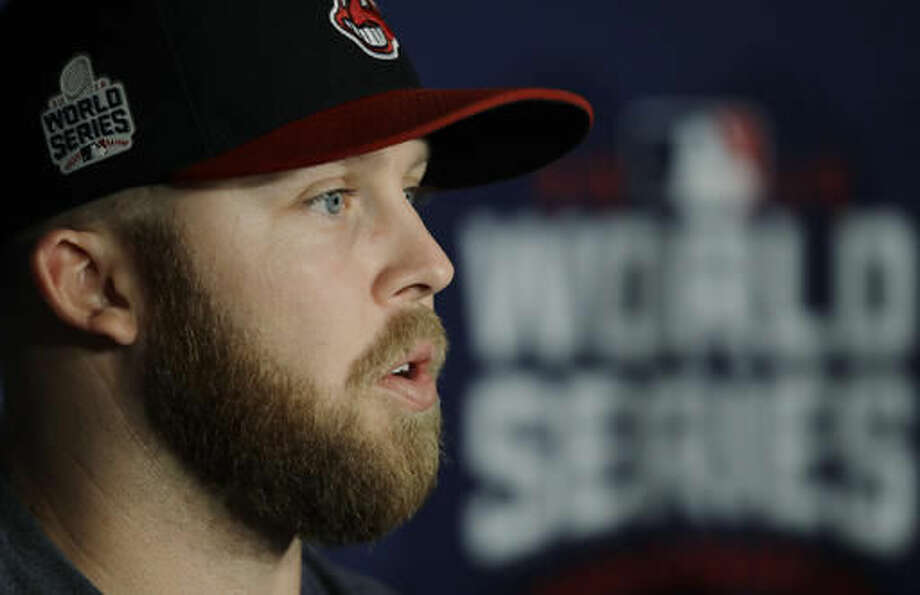 Cleveland Indians' Cody Allen talks before Game 2 of the Major League Baseball World Series against the Chicago Cubs Wednesday, Oct. 26, 2016, in Cleveland. (AP Photo/Gene J. Puskar)