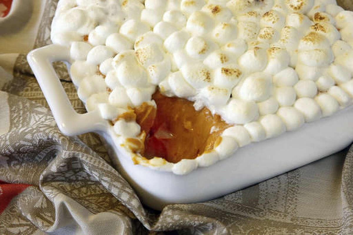 This Sept. 30, 2016 photo shows chipotle sweet potato puree with roasted marshmallows at the Institute of Culinary Education in New York. This dish is from a recipe by Elizabeth Karmel. (AP Photo/Richard Drew)