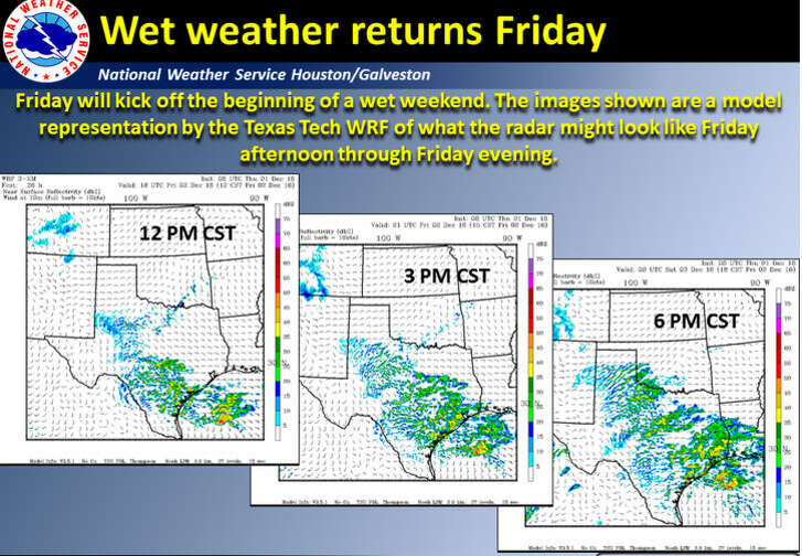 Denching rain stroms are expcted to pound the Housotn region Friday, Dec. 2, 2016, and through the weekend. (National Weather Service)