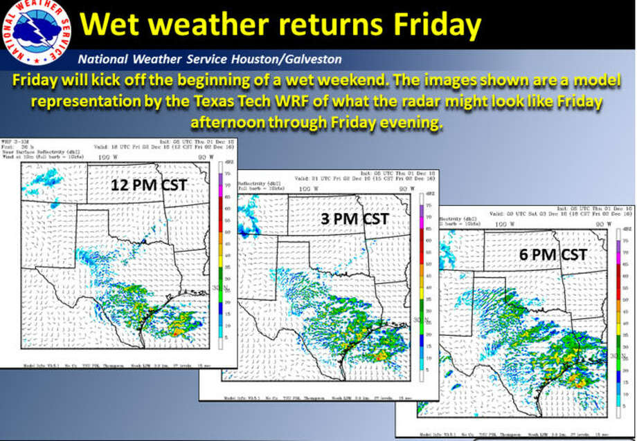 Drenching rain storms are expected to pound the Houston region Friday, Dec. 2, 2016, and through the weekend. (National Weather Service)