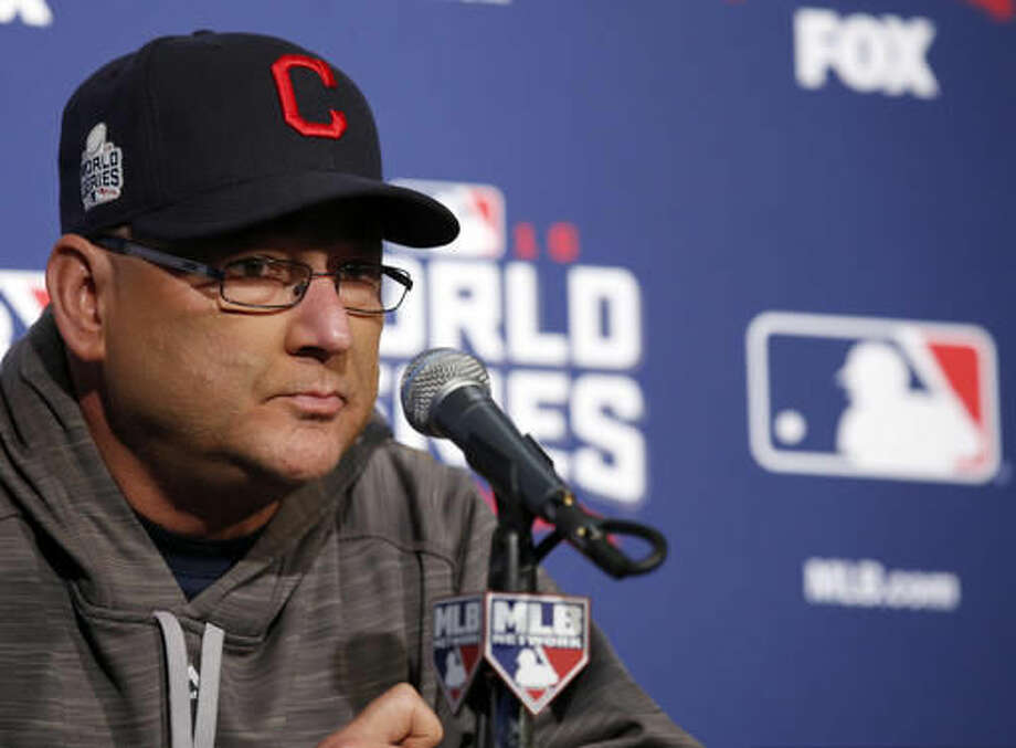 Cleveland Indians manager Terry Francona speaks during a news conference for Friday's Game 3 of the Major League Baseball World Series against the Chicago Cubs, Thursday, Oct. 27, 2016, in Chicago. (AP Photo/Nam Y. Huh)