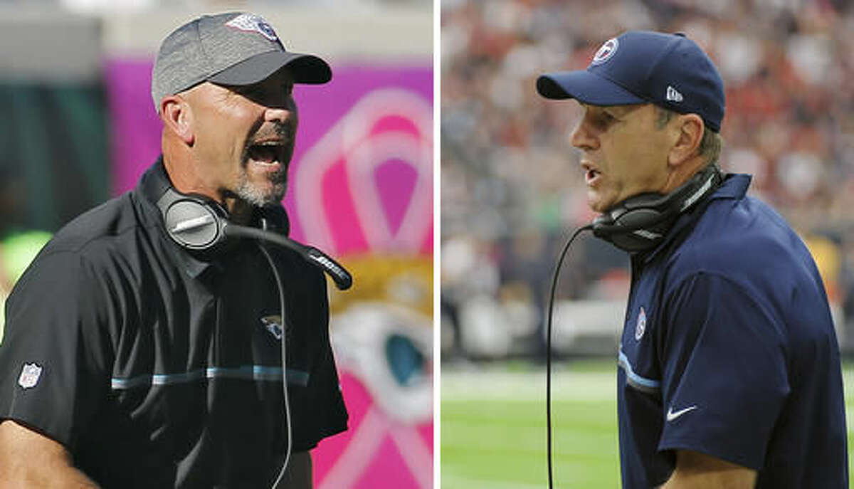 FILE - At left, in an Oct. 23, 2016, file photo, Jacksonville Jaguars head coach Gus Bradley shouts during the fourth quarter of an NFL football game, in Jacksonville, Fla. At right, in an Oct. 2, 2016, file photo, Tennessee Titans head coach Mike Mularkey talks during the first half of an NFL football game against the Houston Texans, in Houston. The Jaguars and Titans play Thursday night in Nashville. (AP Photo/File)