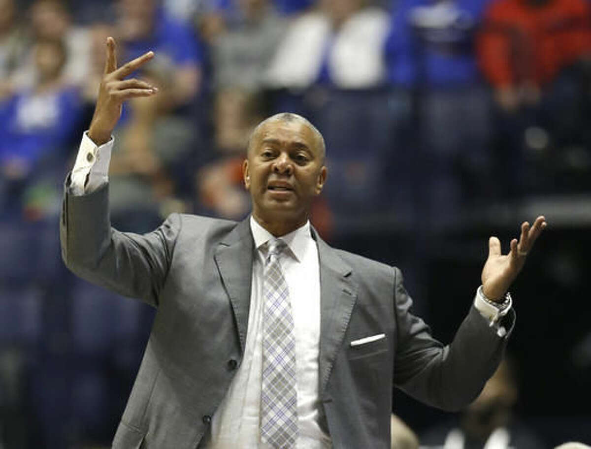 """FILE - In this March 12, 2016, file photo, LSU head coach Johnny Jones reacts to a call during the first half of an NCAA college basketball game against Texas A&M in the Southeastern Conference tournament in Nashville, Tenn. Jones, a former LSU player who calls coaching the Tigers his """"dream job,"""" is under increasing pressure after failing to make the NCAA tournament last season. (AP Photo/Mark Humphrey, File)"""
