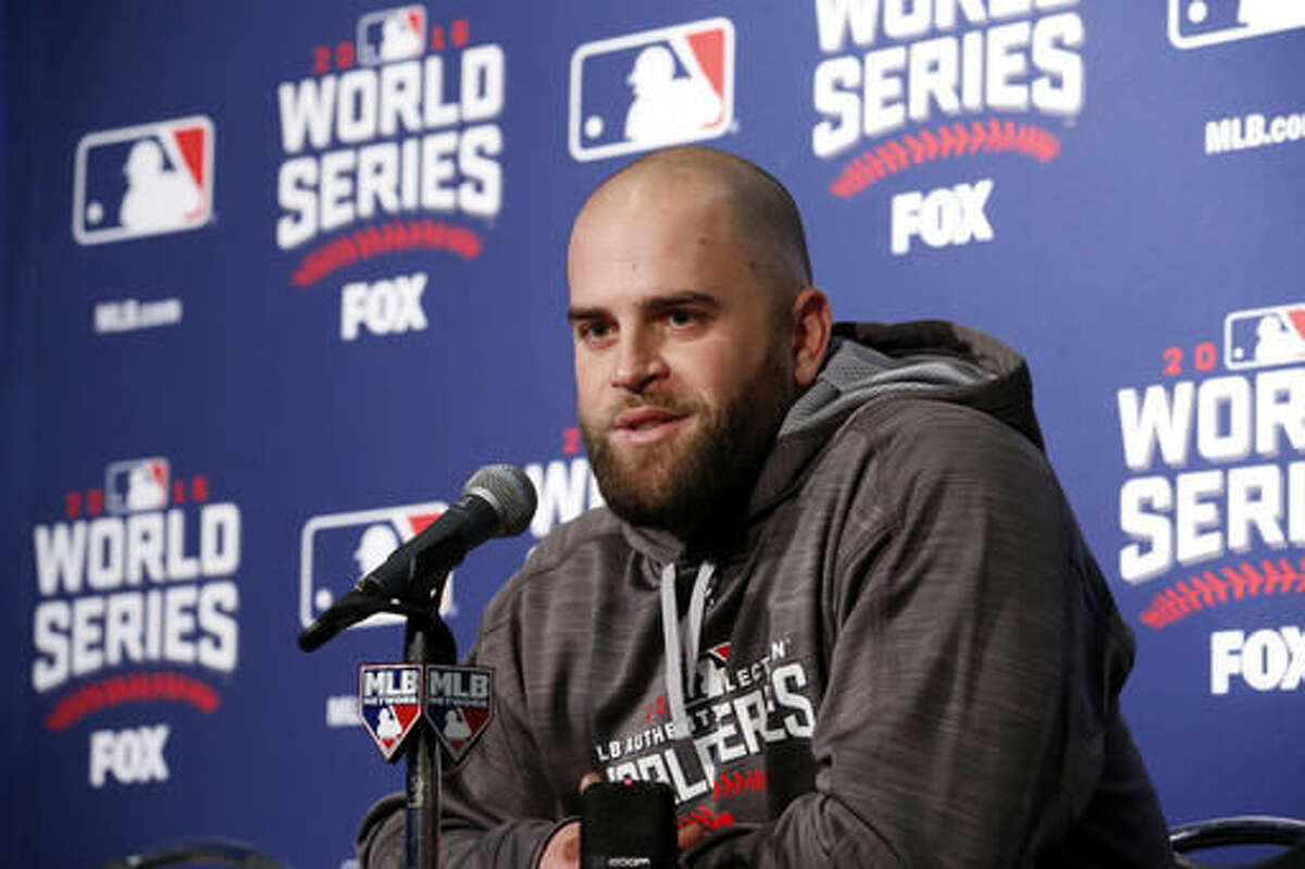 Cleveland Indians' Mike Napoli speaks during a news conference for Friday's Game 3 of the Major League Baseball World Series against the Chicago Cubs, Thursday, Oct. 27, 2016, in Chicago. (AP Photo/Nam Y. Huh)