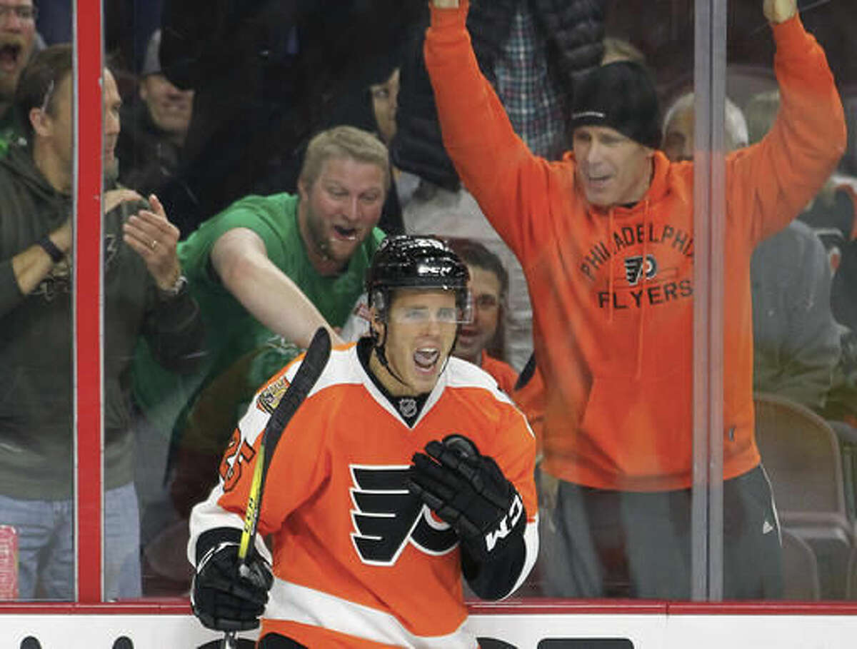 Philadelphia Flyers' Nick Cousins reacts after scoring a goal during the second period of an NHL hockey game against the Arizona Coyotes, Thursday, Oct. 27, 2016, in Philadelphia. (AP Photo/Tom Mihalek)