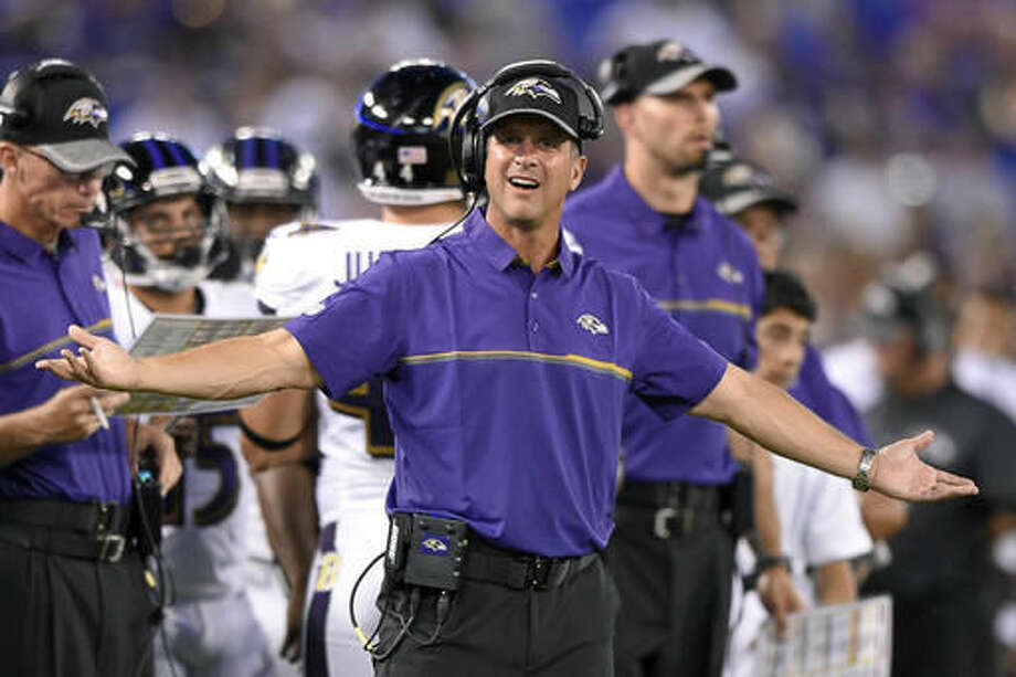FILE - In this Aug. 27, 2016, file photo, Baltimore Ravens head coach John Harbaugh gestures on the sideline in the first half of a preseason NFL football game against the Detroit Lions,in Baltimore. The Ravens figured their miserable 2015 season was merely an aberration. Instead, it appears to be the start of a trend. (AP Photo/Nick Wass, File)