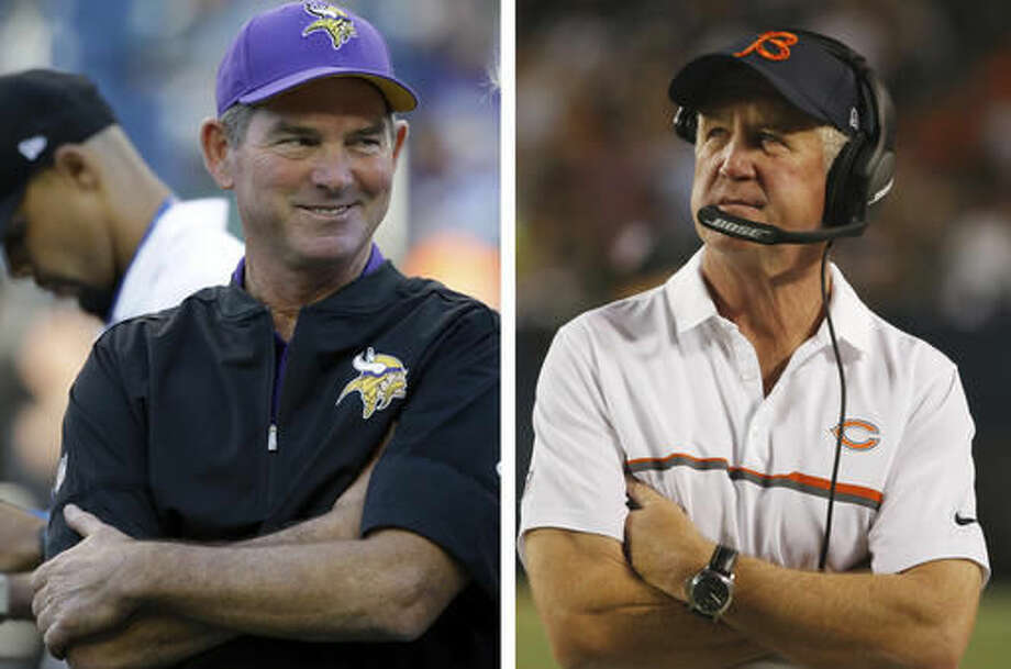 FILE - At left, in an Aug. 18, 2016, file photo, Minnesota Vikings head coach Mike Zimmer smiles before a preseason NFL football game, in Seattle. At right, in a Sept. 19, 2016, file photo, Chicago Bears head coach John Fox watches from the sideline during the second half of an NFL football game against the Philadelphia Eagles in Chicago. Nothing like a matchup against a last-place team to regroup from a loss so consider this good timing for the Vikings. The NFC North-leaders will try to get back to winning when they meet the returning Jay Cutler and last-place Chicago Bears on Monday night. (AP Photo/File)