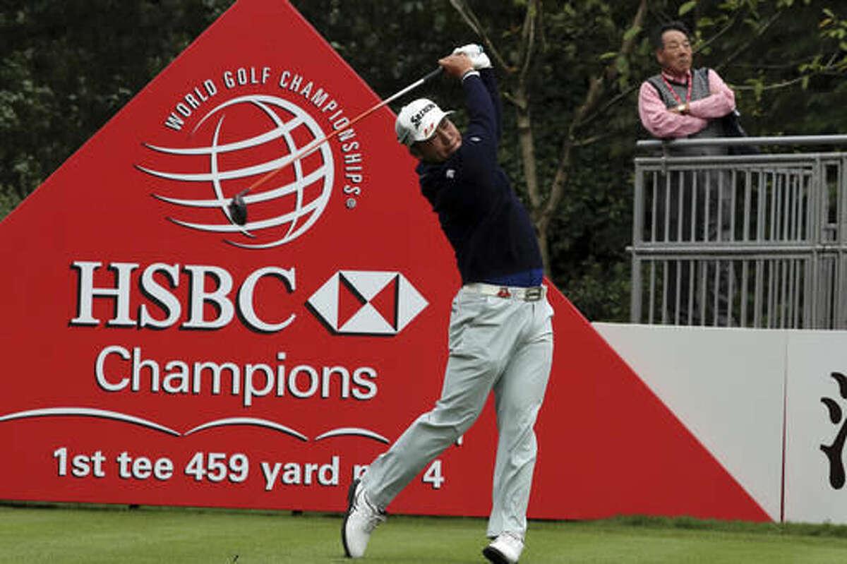 Japan's Hideki Matsuyama hits from tee during the 2016 WGC-HSBC Champions golf tournament at the Sheshan International Golf Club in Shanghai, China, Friday, Oct. 28, 2016. (AP Photo/Ng Han Guan)