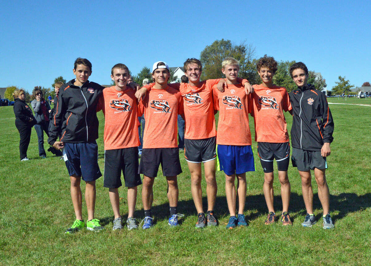The Edwardsville boys' cross country team poses for a photo after taking first place in last Saturday's Class 3A Quincy Regional at Bob Mays Park in Quincy.