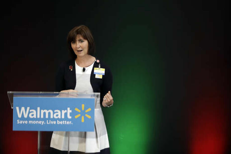 In this Wednesday, Oct. 26, 2016, photo, Judith McKenna, chief operating officer for Wal-Mart U.S., talks about the company's holiday offers during a news conference at a Wal-Mart in Teterboro, N.J. (AP Photo/Julio Cortez)