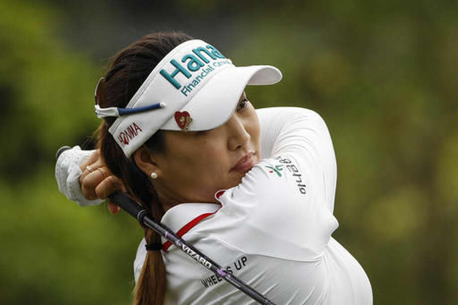 So Yeon Ryu of South Korea follows her shot on the eleventh hole during the second round of the LPGA golf tournament at Tournament Players Club (TPC) in Kuala Lumpur, Malaysia, Friday, Oct. 28, 2016. (AP Photo/Joshua Paul)
