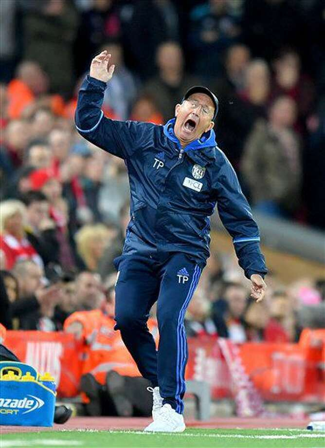 West Bromwich Albion manager Tony Pulis gestures on the touchline during the English Premier League soccer match between Liverpool and West Bromwich Albion at Anfield stadium, Liverpool, England, Saturday, Oct. 22, 2016. (Dave Howarth/PA via AP)