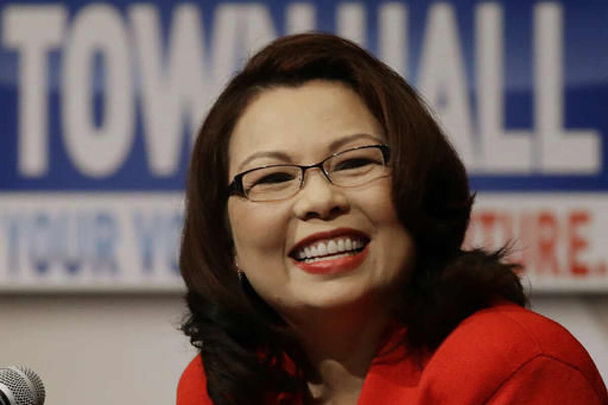 Democratic U.S. Rep. Tammy Duckworth, answers questions during the first televised debate with Republican U.S. Sen. Mark Kirk, in what's considered a crucial race that could determine which party controls the Senate, Thursday, Oct. 27, 2016, at the University of Illinois in Springfield, Ill. (AP Photo/Seth Perlman)