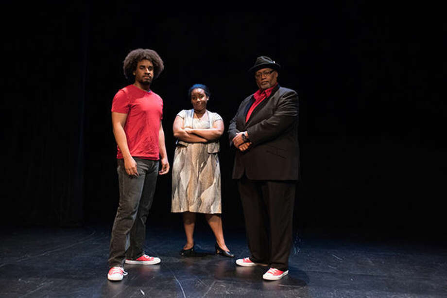"From left are David Dwight as the Youth, Ebby Offord as the mother, and Charles Glenn as the narrator in the PAD production of ""Passing Strange."""