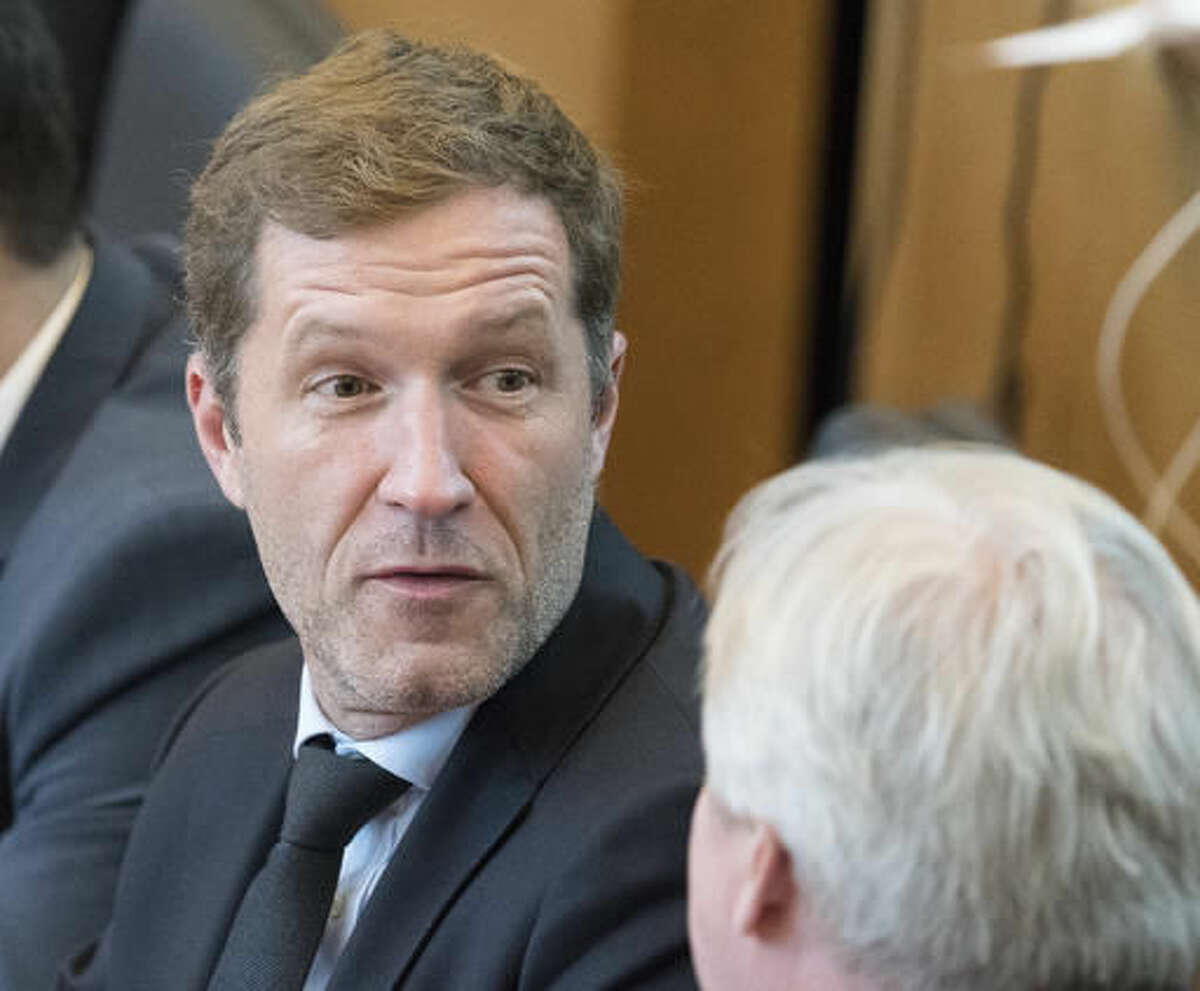 Minister-President of Wallonia Paul Magnette attends a session in the Walloon Parliament in Namur, Belgium on Friday, Oct. 28, 2016. The European Union and Canada are closing in on a landmark free trade deal after Belgium cleared internal political opposition.(AP Photo/Thierry Monasse)