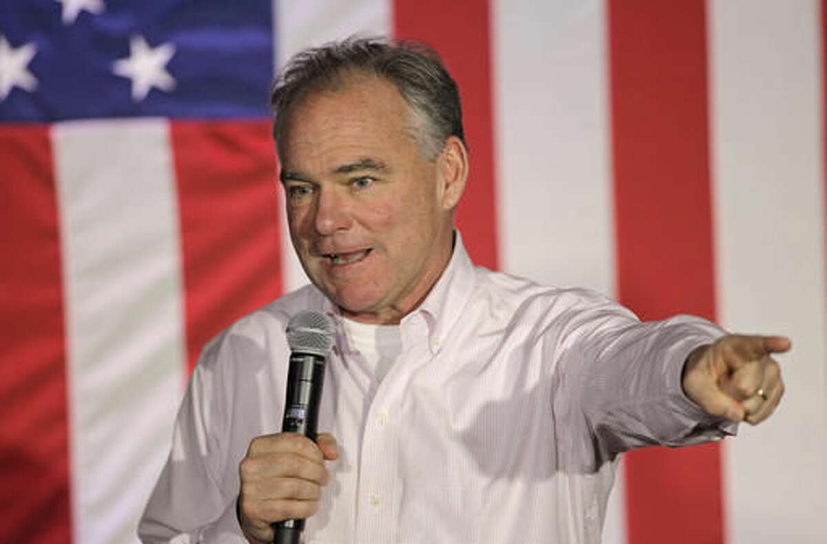 FILE - In this Oct. 20, 2016 file photo, Democratic vice presidential candidate, Sen. Tim Kaine, D-Va., speaks during a campaign rally in Charlotte, N.C. Kaine's not-so-perfect Spanish is the only game in town when it comes to speaking directly to one of the country's fastest growing voting blocs from a high perch in the presidential campaign. (AP Photo/Chuck Burton, File)