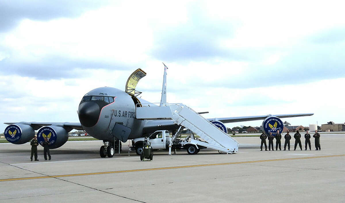The KC-135 and crew at Scott Air Force Base.