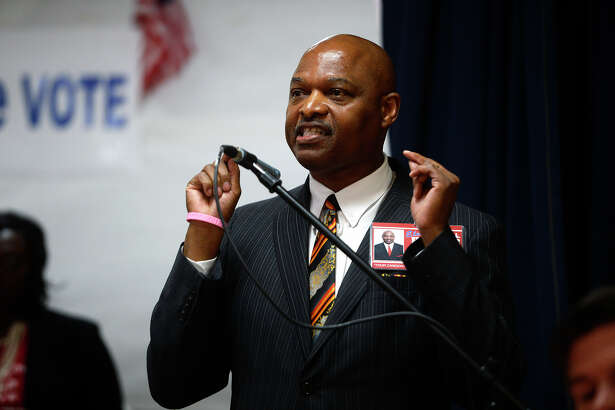 Terrence L. Holmes speaks during a candidate forum hosted by Operation One Vote on Monday evening. Holmes is a candidate for county court at law number 2.  Photo taken Monday 10/10/16 Ryan Pelham/The Enterprise