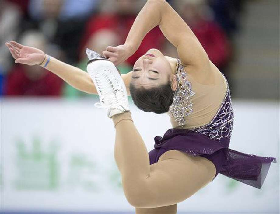 Mirai Nagasu, of the United States, performs in the ladies short program at Skate Canada International figure skating event, Friday, Oct. 28, 2016 in Mississauga, Ontario. (Frank Gunn/The Canadian Press via AP)
