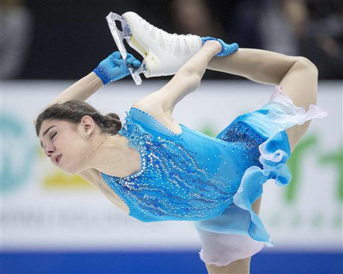 Russia's Evgenia Medvedeva performs in the ladies short program at Skate Canada International figure skating event, Friday, Oct. 28, 2016 in Mississauga, Ontario. (Frank Gunn/The Canadian Press via AP)