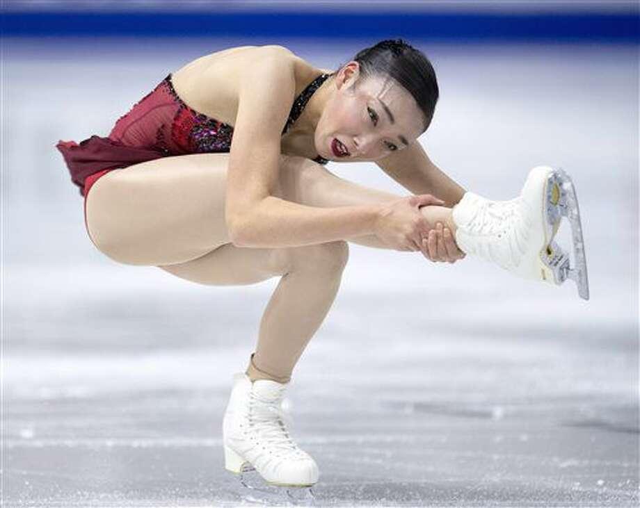 Japan's Rika Hongo performs in the ladies short program at Skate Canada International figure skating event, Friday, Oct. 28, 2016 in Mississauga, Ontario. (Frank Gunn/The Canadian Press via AP)
