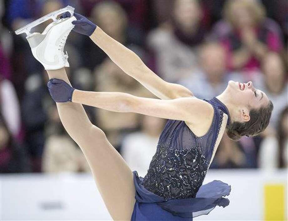 Canada's Kaetlyn Osmond performs in the ladies short program at Skate Canada International figure skating event, Friday, Oct. 28, 2016 in Mississauga, Ontario. (Frank Gunn/The Canadian Press via AP)